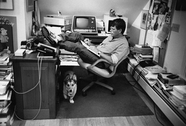 Stephen King and his corgi Marlowe