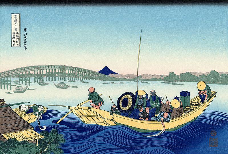 22.Залез зад мостът Рьогоку от брега на река Сумида в Оммаягаши