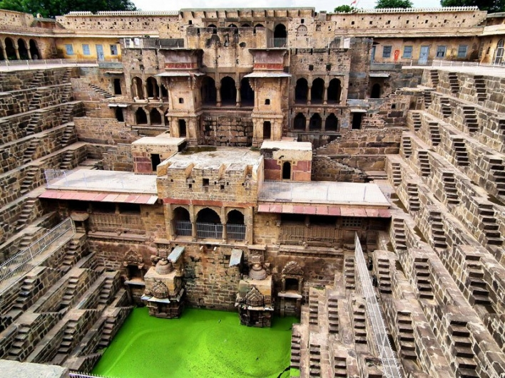 Chand Baori, a large stepwell in Abhaneri village in the Indian state of Rajasthan