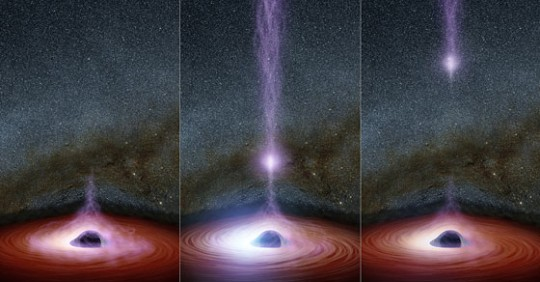 light coming out of the black hole